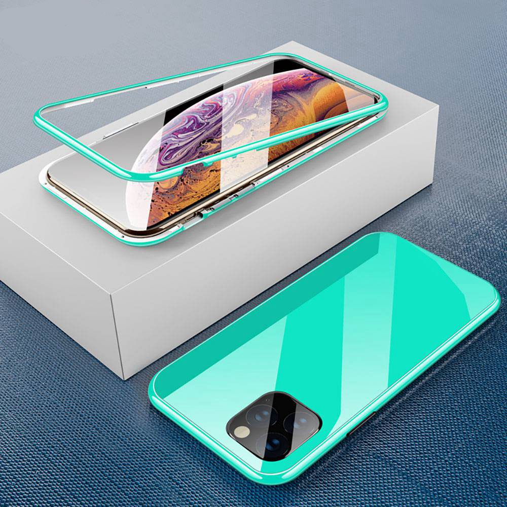 KISSCASE Colorful Magnetic Adsorption Case for iPhone 11 Pro Max XR XS MAX X 8 7 Plus Luxury PC+Tempered Glass Phone Case Fundas