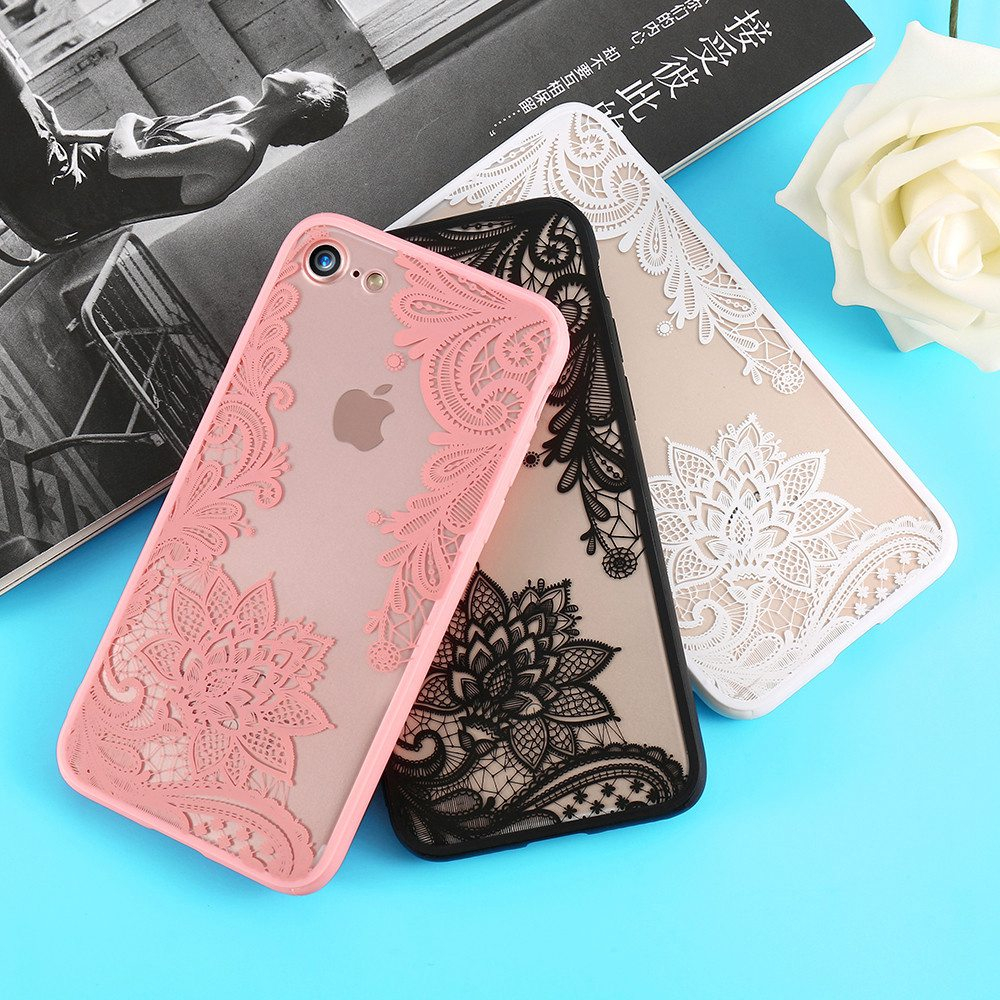 Luxury Lace Flower Case For iPhone 8 Plus 8 7 Vintage Floral Case For iPhone 7 Plus 11 7 6S 6 Plus 5S 5 XS Max XR X Bag