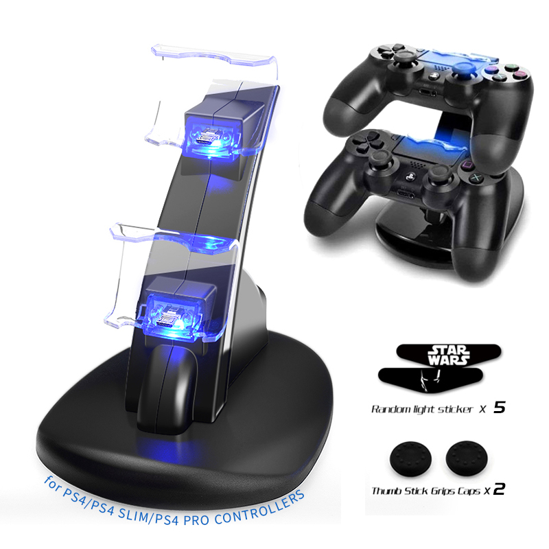 Game Controller Charger Dock LED Dual USB Charging Stand Station Cradle For Sony PlayStation 4 PS4/PS4 Slim/PS4 Pro