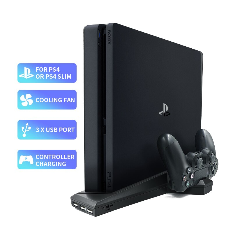 Vertical Stand With cooling fan Dual Controller Charger Station For Sony PlayStation 4 / Slim