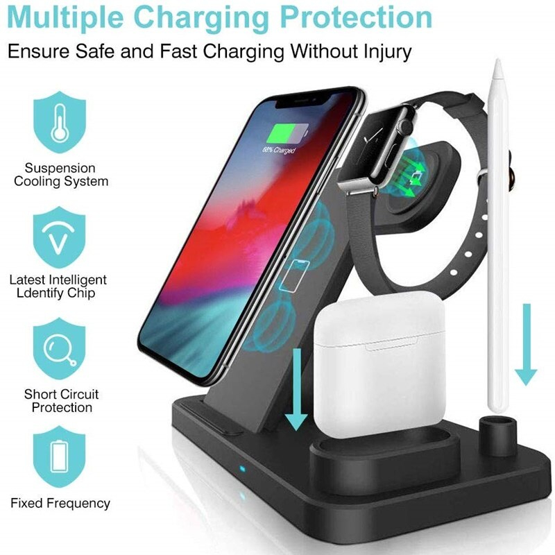 Tongdaytech Fast Qi Wireless Charger For Apple Airpods Watch 5 4 3 2 1 Wireless Charging Station For Iphone 8 11 XR XS Pro Max