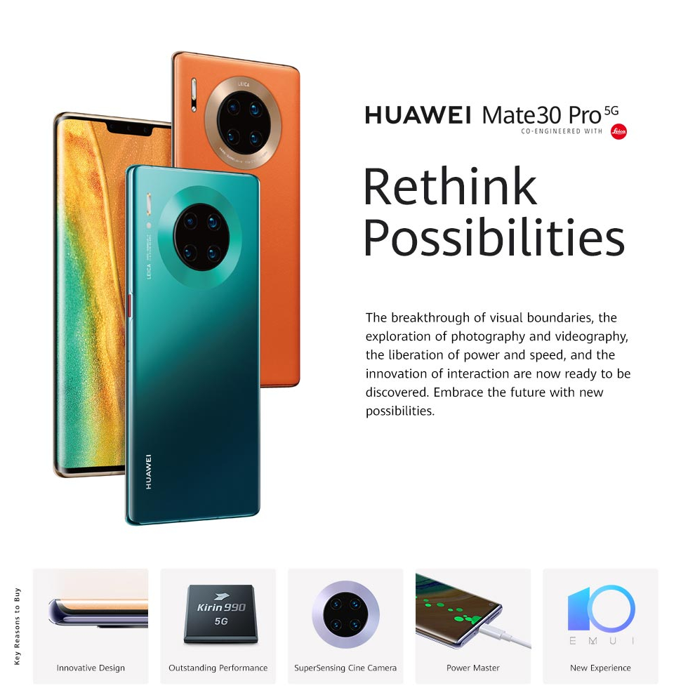 HUAWEI Mate 30 Pro 5G Mobilephone 6.53''Ultra-curved screen Kirin990 Octa Core Android 10 Gesture Sensor Reverse Charge  With Free gift for limited time only