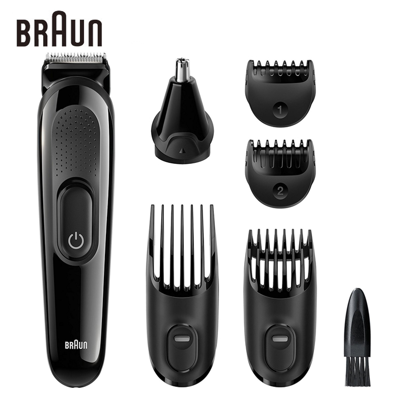 Braun Men's Beard Hair Trimmer MGK3020 6 in 1 Multi Grooming Kit Electric Shaver Hair Ear Nose Head Trimming 4 Combs 13 Length