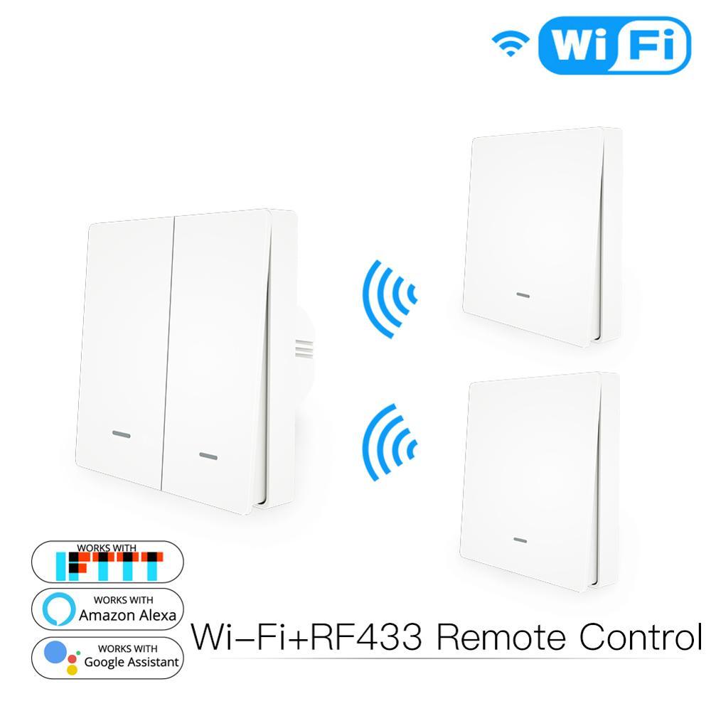 WiFi Smart Push Button Switch 2-Way RF433 Wall Panel Transmitter Kit Smart life Tuya App Control Works with Alexa Google Home