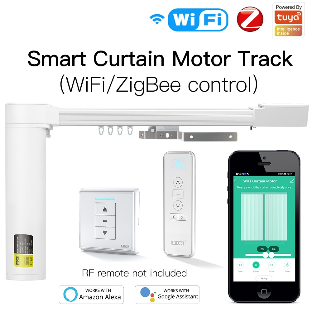 New Upgraded WiFi ZigBee Tuya Smart Curtain Motor Track Customized System RF Remote Alexa Google Home Multiple Controlling Modes