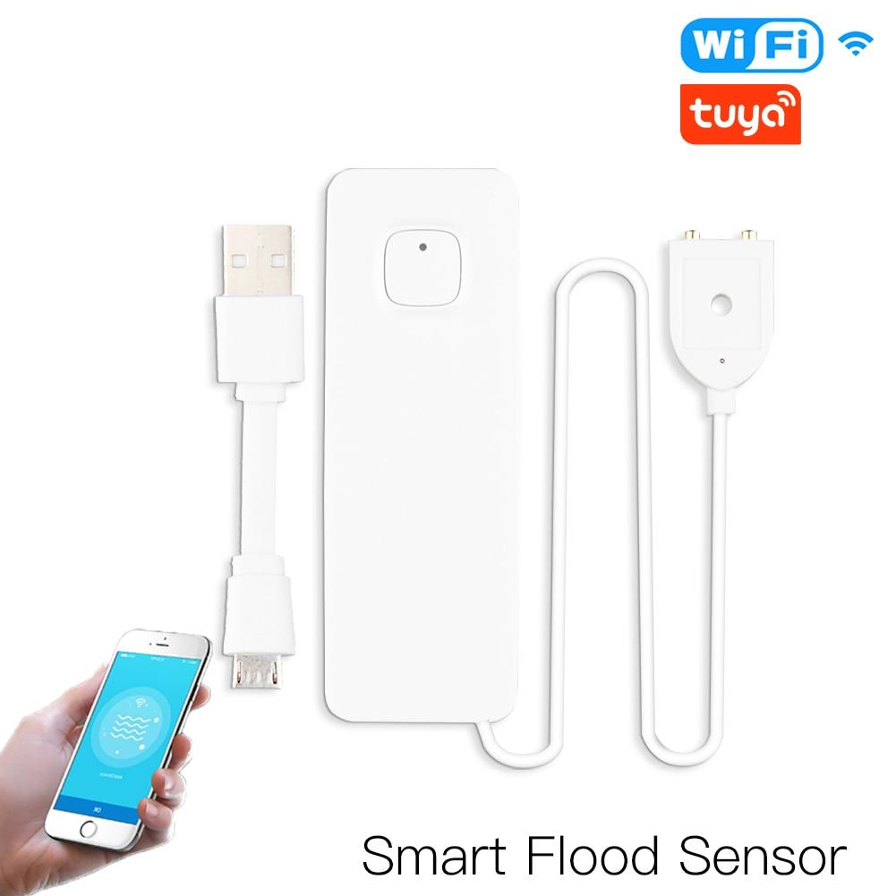 WiFi Smart Flood Sensor Water Leakage Detector Flood Overflow Alert Security Alarm System Tuya/Smart Life App Remote Control