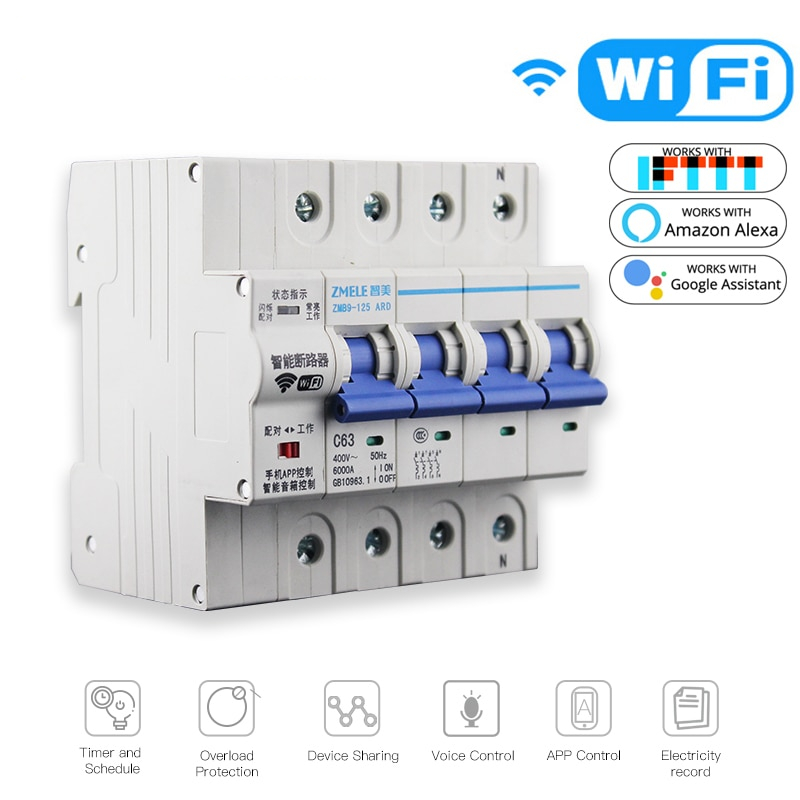 4P WiFi Smart Circuit Breaker Switch Smart Home Automation Overload Short Circuit Voice Control with Amazon Alexa Google home