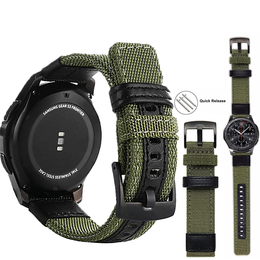 strap For Samsung Galaxy watch 3 46mm band gear s3  Frontier Classic nylon 22mm 20mm WatchWoven Nylon Band for 20mm 22mm Wrist