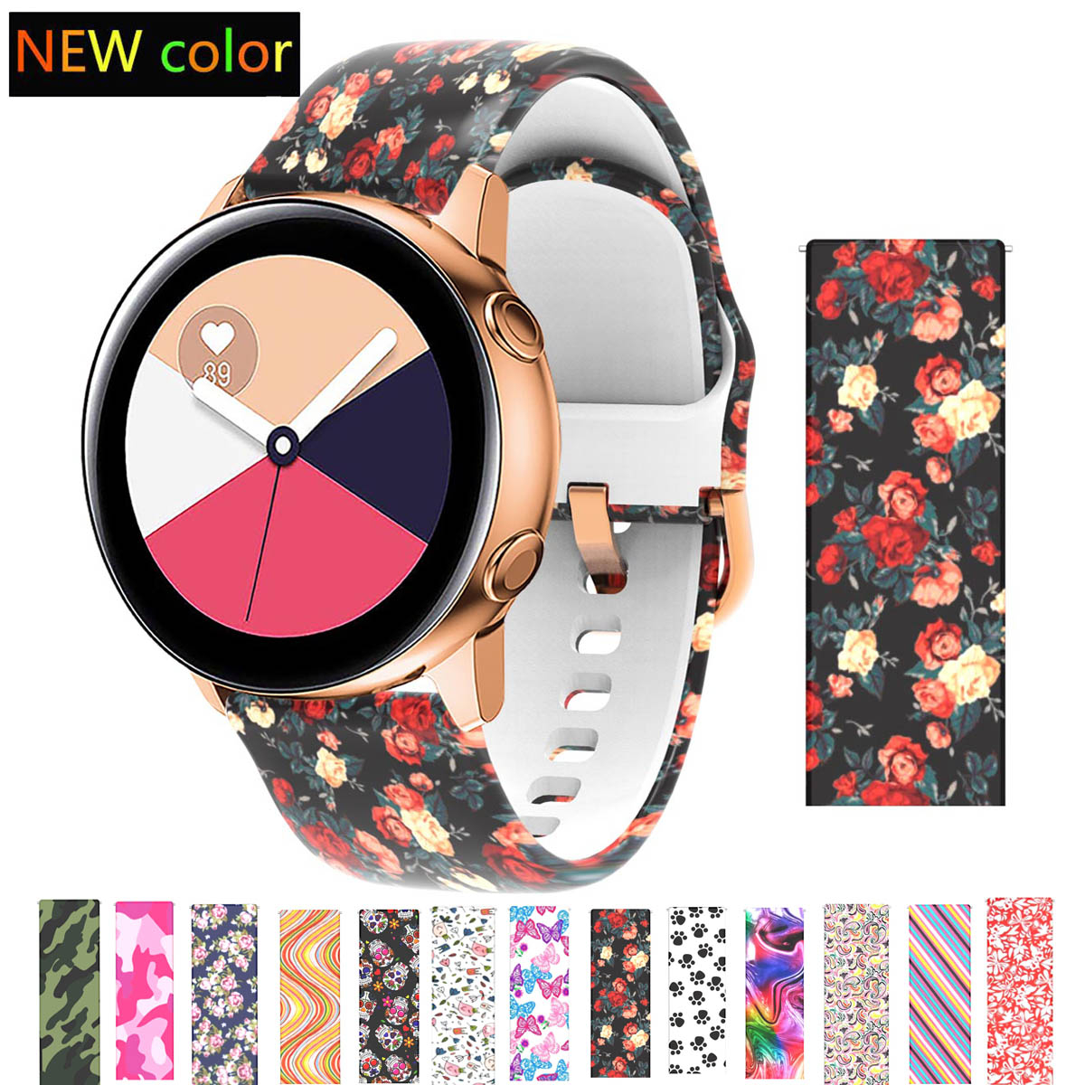 Silicone Watch Strap for Samsung Galaxy 3 Active watch 42 Band 20mm Bands For Amazfit Bip S Gear Sport For Huawei vivoactive 3