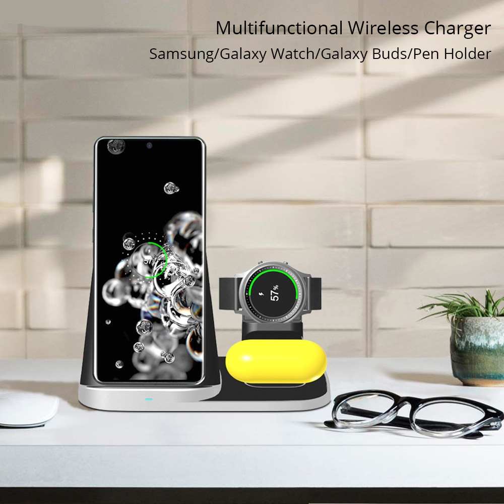 Bonola 4 In1 Multifunctional Wireless Charger For Samsung S20/S10/Galaxy Watch/Galaxy Buds/Pen Holder Modular USB Watch Charger