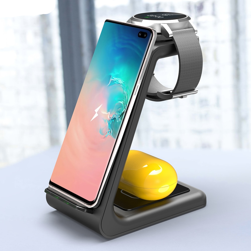 Bonola 3 in1 Wireless Charging Station For Samsung Galaxy Watch/Buds/S10/S9 Fast Qi Wireless Charger For Samsung Note10/Note9/S8