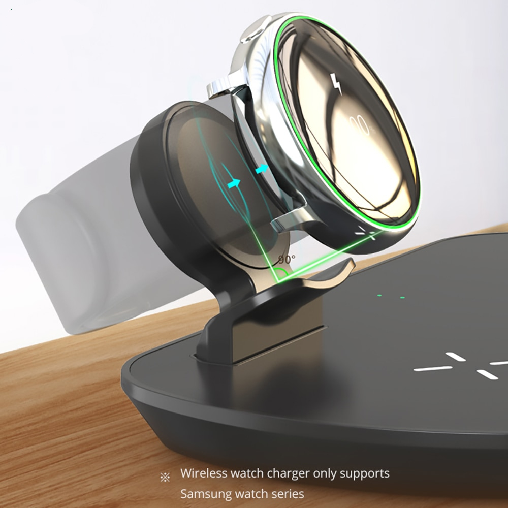 QiFast 3 in 1 Wireless Charging Pad For Samsung S20/Note10/Galaxy Watch/Galaxy Buds  Wireless Charger for Samsung S10